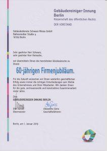 Gebäudedienste Schwarz Weiss 60 Jahre